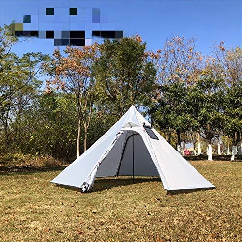 Tienda de campaña Ultraligero camping tienda de pirámide 3-4 persona al aire libre 4 temporada Senderismo mochilero Tienda Teepee Toldings Shelter con chimenea Agujero ( Color : Outside Tent Color 1 )