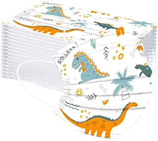 Children's Protective Disposable Face Bandanas, Cartoon Dinosaur Print, 3-Ply Ear Loop, 50PC (A 50pcs)