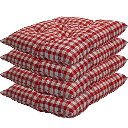 nxtbuy Stuhlkissen 4er Set 38x38 cm Rot Kariert - Gepolstertes Sitzkissen für Indoor und Outdoor - in vielen Farben erhältlich