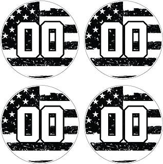 Custom Baseball Bat Decal Set - Black and White USA American Flag Design Bat Knob Sticker