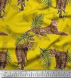 Soimoi Gelb Viskose Chiffon Stoff Blätter & Leopard Tier