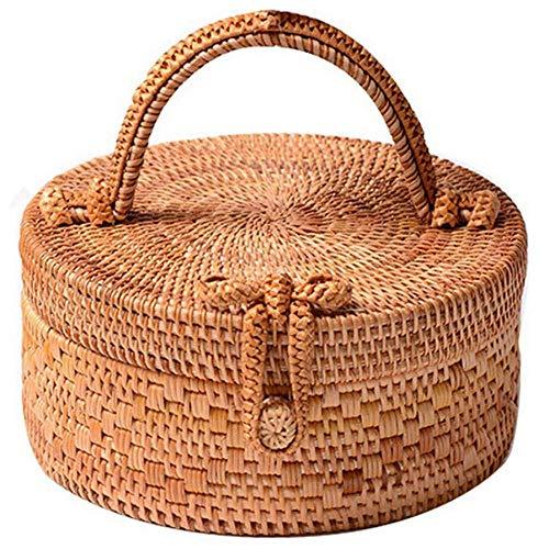 Dwqlx Rattantasche Für Frauen, Mode Handgemachte Wicker Gewebte Geldbörse Runde Rattantasche Bambus Rattantasche Für Sommer Strand Meer Urlaub Bes