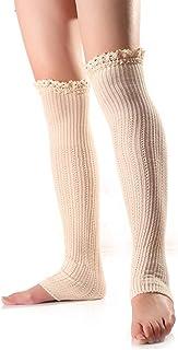 Calcetines Altos Mujer Invierno Pierna La Rodilla De Calentadores Alta Ropa festiva Banket Encaje Crochet Knit Boat Calcetines Paso En La Rodilla Calcetines Otoño