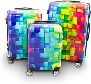 BERWIN Design Koffer Reisekoffer Trolley Hartschalenkoffer Polycarbonat mit 4 Rollen als Set und Einzeln Cube, 3er Set M/L/XL
