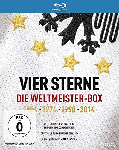 Vier Sterne - Die Weltmeister-Box - 1954 1974 1990 2014 / Alle deutschen Finalsiege mit Originalkommentaren von ARD und ZDF + Die offiziellen Turnierfilme der FIFA + Die Mannschaft (5 Blu-rays)
