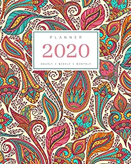 Planner 2020 Hourly Weekly Monthly: 8.5 x 11 Large Notebook Organizer with Hourly Time Slots   Jan to Dec 2020   Elegant Floral Paisley Design Yellow