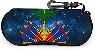 MODORSAN Étui pour lunettes de soleil haïtien étoilé étui souple étui à lunettes à glissière support de protection avec cl...
