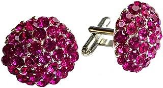 Clinks Cufflinks Mens Crystal Cluster Cufflinks - Fuchsia Pink