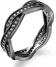 Aivdoirla Black Rings for Women Cubic Zirconia Rings Twist Fate 2 Bands Promise Ring Love Wedding Jewelry Copper with Black Gold Plated Diamond CZ Eternity Rings for Women Sizes 6-10
