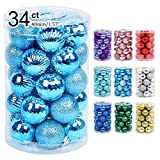 Lulu Home Christmas Ball Ornaments, 34 Ct Pre-Strung Xmas Tree Decorations, Holiday Hanging Balls Sky Blue 1.57'