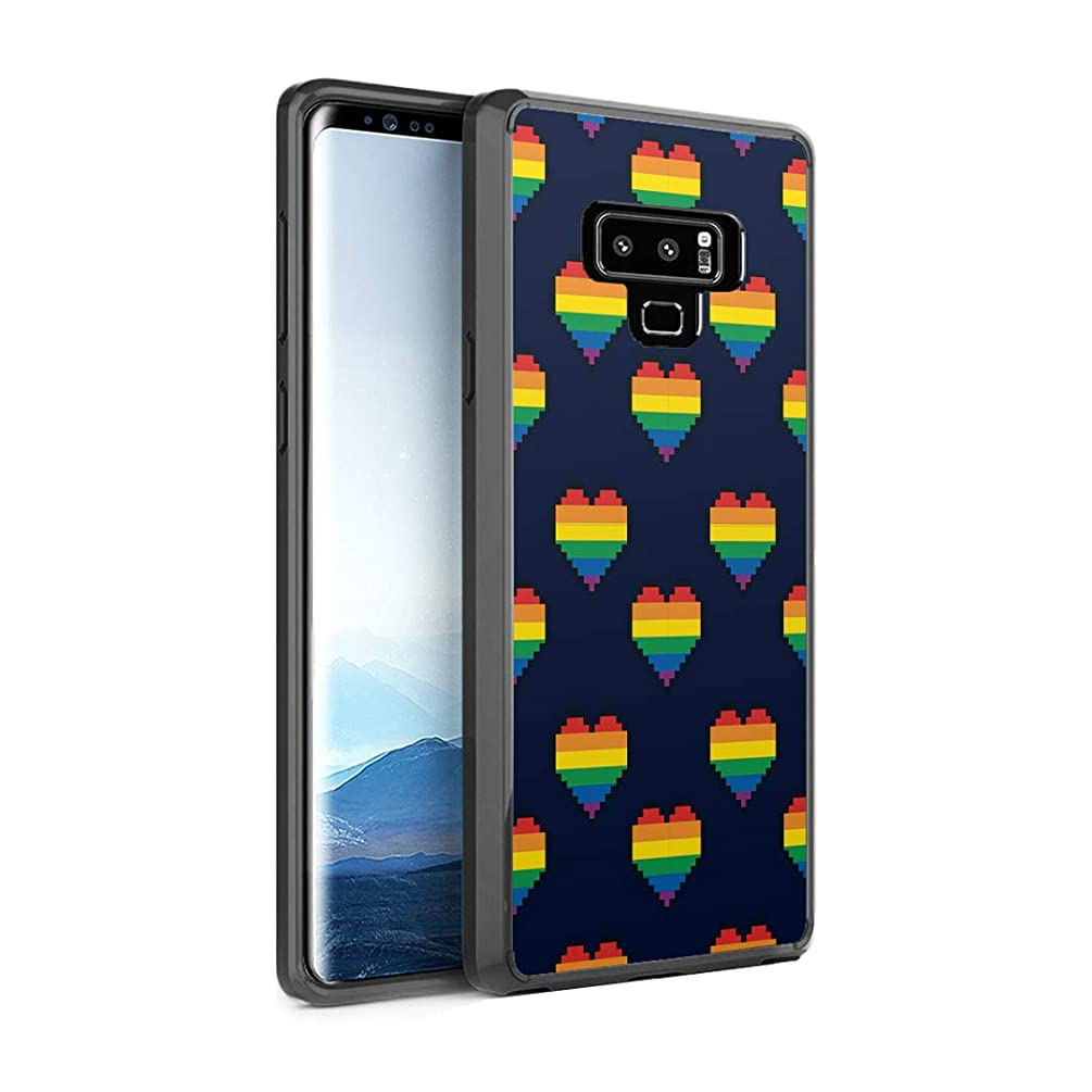 Capsule Case Compatible with Galaxy Note 9 [Shockproof Bumper Cases Non Slip Scratch Resistant PC Hard Back Protective Black Case] for Samsung Galaxy Note 9 - (Pride Hearts)