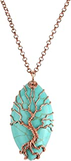 Top Plaza Vintage Copper Tree of Life Wire Wrapped Horse Eye Shape Natural Gemstone Pendant Necklace Chakra Reiki Healing Crystal Jewelry for Women - Synthetic Green Turquoise