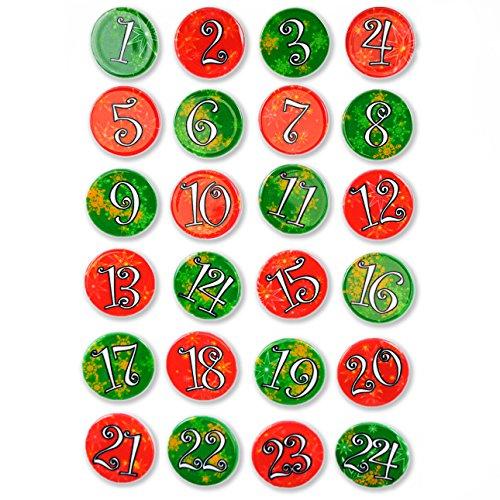 Ganzoo Advents-Kalender Buttons x 24, Zahlen Pins für Jutesäckchen, Anstecker Nadeln