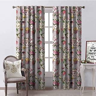 GloriaJohnson Tea Blackout Curtain British Design Old Vintage Retro Image of Antique Tea Set Print 2 Panel Sets W42 x L90 Inch Light Pink Hot Pink and White