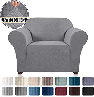 Stretch Armchair Covers for Chairs Slipcovers forLiving Room Couch Covers for Chair Protectors Cover for Dogs/Pets/Kids, Feature ChecksPattern Jacquard Bouncy, Thick and Soft - Dove
