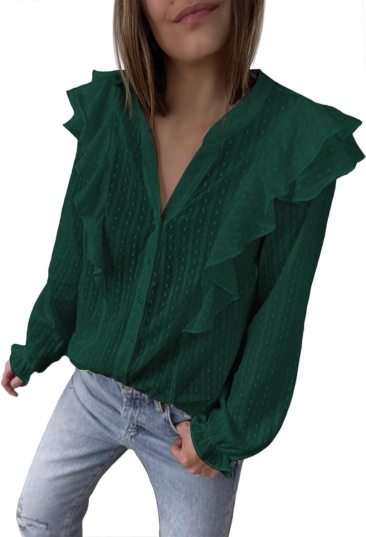 Selowin Women's V Neck Shirts Button Down Ruffle Long Sleeve Blouse Top