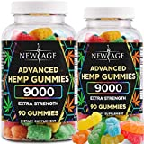 New Age Naturals Advanced Hemp Gummies 9000 Extra Strength- 2 Pack - 180ct - 100% Natural Hemp Oil Gummies - Vegetarian, Non GMO