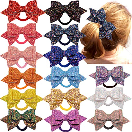 Women Girls Glitter Hair Bows Boutique Hair Ties Ponytail Holders Bands-15pcs Multi Color Glitter Sequins Big Hair Bows For Girls Teens Toddlers
