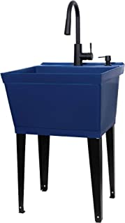 Blue Utility Sink Laundry Tub With High Arc Black Kitchen Faucet By VETTA - Pull Down Sprayer Spout, Heavy Duty Slop Sinks...