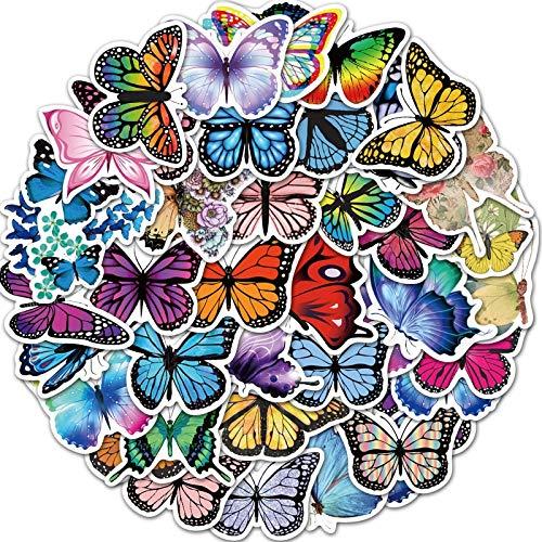 ZHXMD Pegatinas de Mariposa de Flores de PVC Multicolores para niñas, niños, Habitaciones de bebés, Cocina, decoración del hogar, Pegatinas Adhesivas para monopatín, 50 Uds