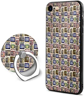 Retro iPhone 6 Plus/iPhone 6s Plus Cases,Cartoon Style Radio Pattern Multimedia Broadcasting Communication Theme Old Equipment Multicolor,Mobile Phone Shell Ring Bracket