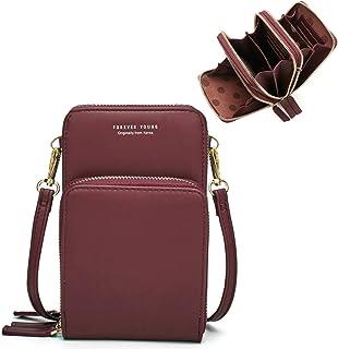 Damen Handtaschen Schultertasche Handytaschen Umhängetasche Kunstleder Schultertasche 3 Reißverschluss Beutel mit Vielen K...