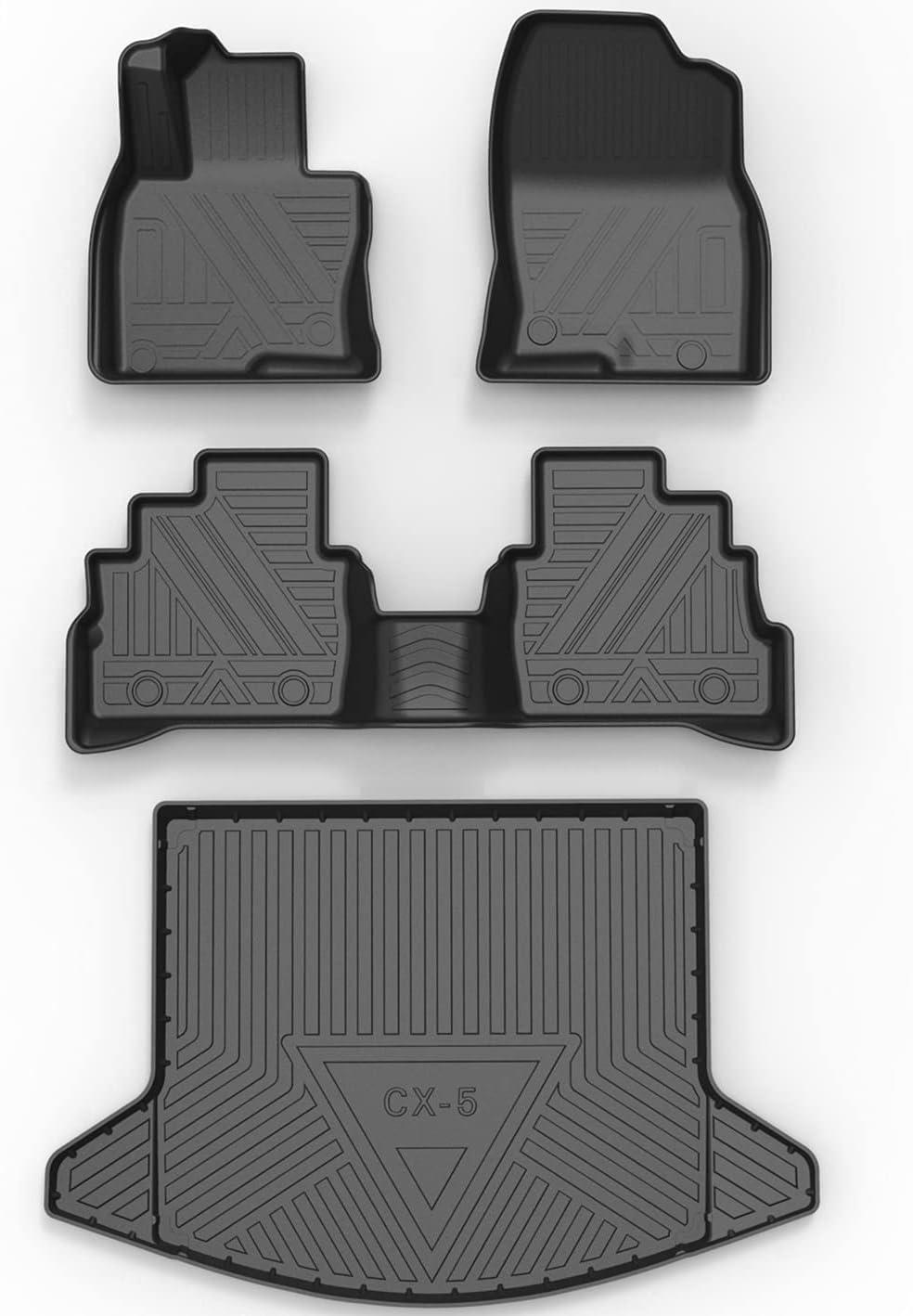 SUPER LINER Floor Mats for 2017-2021 Mazda CX5 - All Weather Custom Fit Mazda CX-5 Car Floor Mats Cargo Liner Rear Cargo Tray Trunk Waterproof Interior Accessories