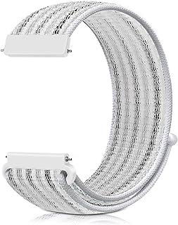 Fitbit Versaバンド、ナイロンスポーツバンドブレスレット通気性調節可能な軽量交換ストラップリストバンドアクセサリーfor Fitbit Versa/Versa2/Versa Lite/Versa Special (白いピンストライプ)