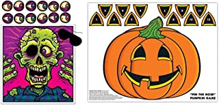 HAPPY DEALS~ Halloween Games Set + pin The Nose Pumpkin Game + Pin The Eye on The Zombie Game Set of 2 Halloween Party Games