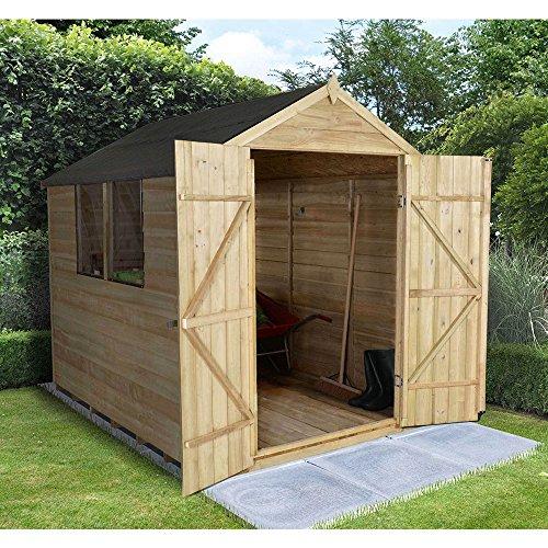 Apex Overlap Pressure Treated 8x6 Wooden Double Door Garden Shed