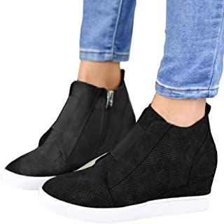 Ermonn Womens Wedge Sneakers Fashion High Top Side Zipper Platform Booties Flat Shoes