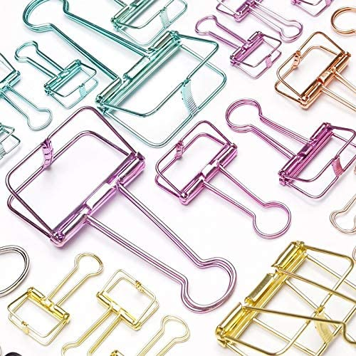 Clips 3pcs or 20pcs In stock Novelty Solid Hollow famous Out Color Binder Metal