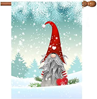 Christmas Tomte in Winter Garden Yard Flag Banner House Home Decor 28 x 40 inch, Forest Snow Large Decorative Double Sided Welcome Flags for Holiday Wedding Party Outdoor Outside