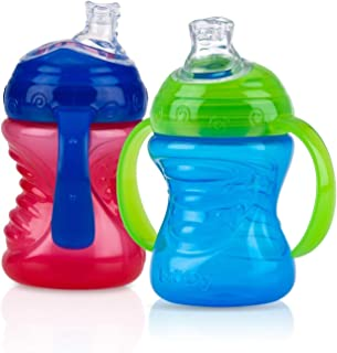 Nuby 2 Count 2 Handle Cup with No Spill Super Spout, Blue/Red