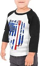 American Flag Firefighter Maltese Cross Halligan Hooligan Fire Axe Kids Raglan 3/4 Sleeves Baseball Tee Toddler Jersey