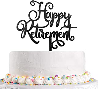 Happy Retirement Cake Topper Black Glitter The Adventure Begin, Retirement Party Decoration Supplies(Acyrlic)