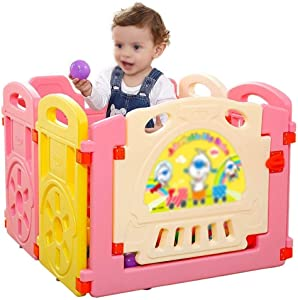 Hfyg Playpens Baby Playpen Playground Play Barrier for Children Toddler Creeping Safety Barrier Guard Fence pens  Color Pink