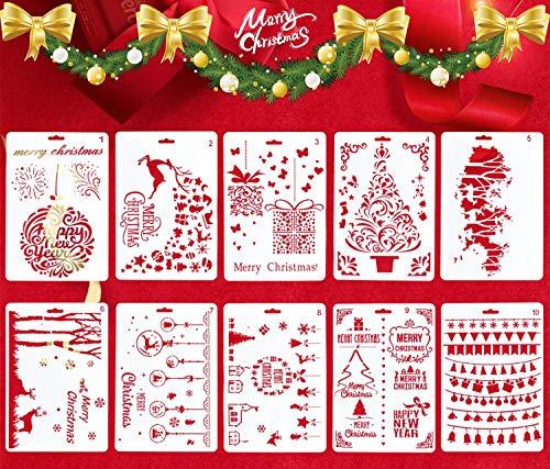 heekpek 10/16 Stück schablonen für Weihnachten Zeichenschablonen Malschablonen Weihnachten Schablone Set Zeichnung Malerei Weihnachtsmann Weihnachtsbaum Schneeflocken Glocken Schablone für DIY