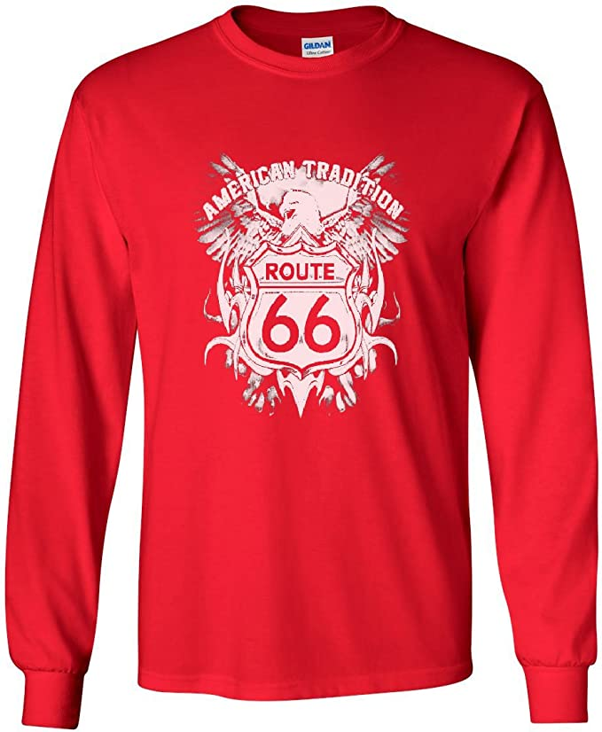 Route 66 American Tradition Long Sleeve T-Shirt Biker Motorcycle