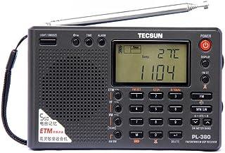 TECSUN PL380 短波ラジオ BCL 高感度 FM AM LW ステレオワールドバンド PLL DSP 防災ラジオ収納袋付き良好屋内および屋外アクティビティの両親への贈り物 (日本語版取扱説明書) (黒い)