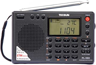 TECSUN PL 380 短波ラジオ BCL/高感度/FM/AW/LW/ステレオワールドバンド/PLL/DSP防災ラジオ、保護カバーを持っている。室内と室外の活動に適している。プレゼントとして両親に贈る。(日本語の説明書)(黒い)