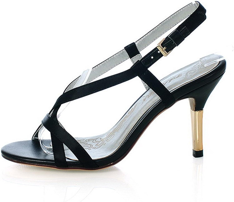 AmoonyFashion Women's Open Toe High Heel Spikes Silk Soft Material Solid Sandals, Black, 7.5 B(M) US