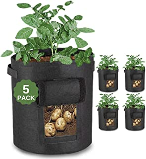 JUSTGROW 5 PACK 10 GALLON LARGE POTATO GROW BAGS WITH VELCRO VEIWING WINDOW | POTATO GROW BAG, PREMIUM REINFORCED BREATHAB...