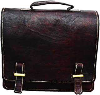 Satchel And Fable Leather 11 Inch Sturdy Leather I pad Messenger Satchel Bag Top Handel Cross Body Shoulder Bag Dark Brown