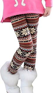 Qitun Niña Clásico Multicolor Impresión Leggings Invierno Caliente Elástico Pantalones
