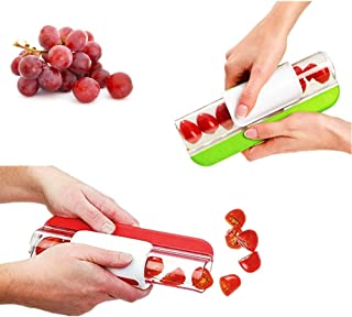 Grapes Cutter Tomatoes Cherry Slicer,Fast and Easy Large Amount of Salad, Grape Slicer For Kids Fruit Slicer Kitchen Accessories (Green1 pack+Red1 pack)