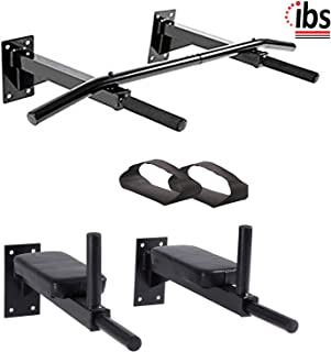 IBS Wall Mounting Solid Bar Combo Bars Dips Bar Combo with Pab and Straps for Multiple Body Exercises for Home and Gym