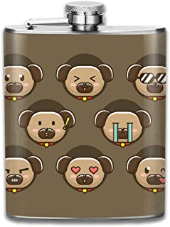 FGRYGF Frasco de Acero Inoxidable Cartoon Dog Emotions Fashion Portable Stainless Steel Hip Flask Whiskey Bottle for Men and Women 7 Oz
