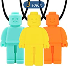 QUALEAP AMBER Sensory Chew Necklace for Kids, Boys or Girls - Oral Sensory Chew Toys Teether Necklace Chewing Necklace - Designed for Autism, ADHD, Oral Motor Boys BPA Free - 3 Pack