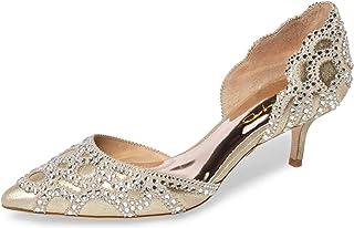265d1e9fcf45 XYD Women D Orsay Wedding Pumps Pointed Toe Low Kitten Heels Slip On  Rhinestones Bridal